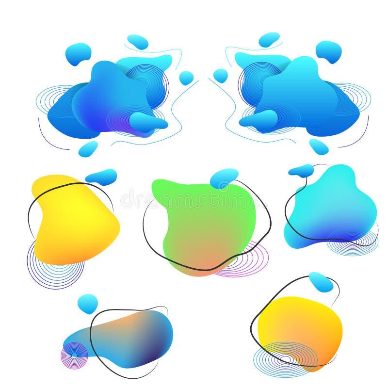 Vloeibare elementen, gemengde kleuren plastic vormen of diverse organische bellen voor modern ontwerp Abstracte vloeibare gradiën vector illustratie