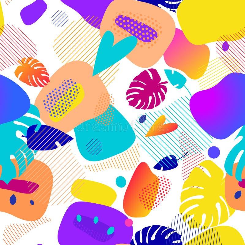Vloeibare geplaatste kleurenkentekens Abstracte vormensamenstelling Eps10 Vector naadloos patroon Sappig helder modern ornament royalty-vrije illustratie