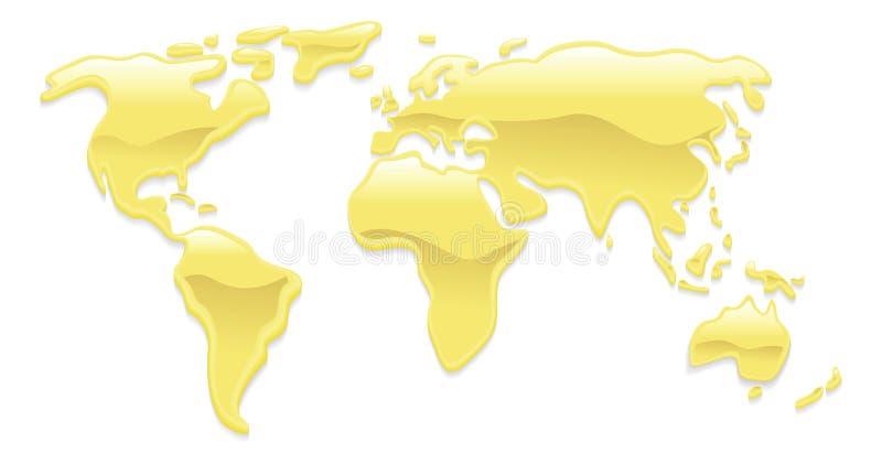 Vloeibare gouden wereldkaart royalty-vrije illustratie