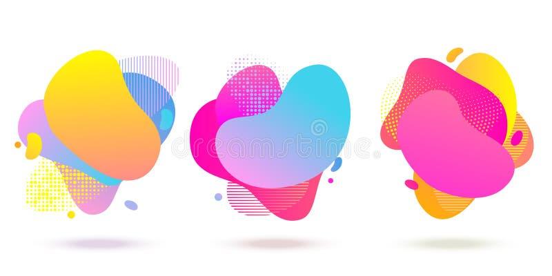 Vloeibare halftone kleuren abstracte vloeibare vormen, de gestippelde en achtergrond van het streeppatroon Vector abstracte vloei vector illustratie