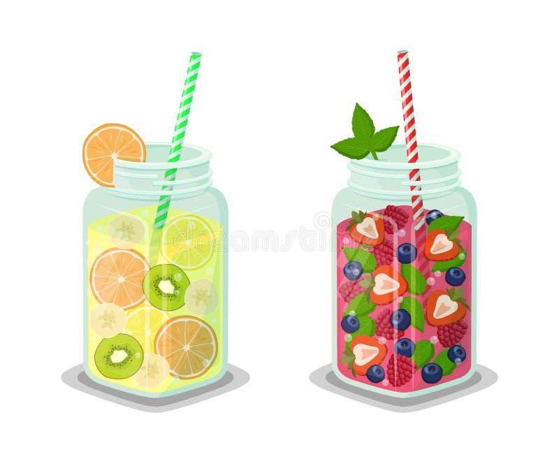 Vloeibare het Op dieet zijn Dranken Geplaatst Vectorillustratie stock illustratie