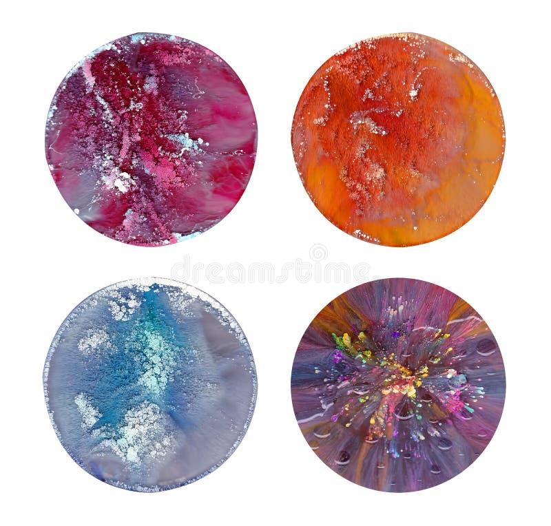 Vloeibare kunst in een petrischaal De kleurrijke acryl, plonsen van de inkt, olie en waterverf marmeren verf stock afbeelding
