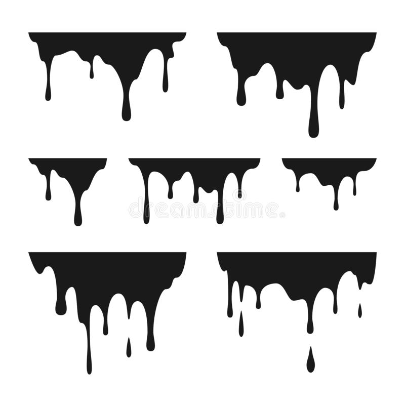 Vloeibare verfdalingen Zwarte smeltingsdruppels De graffiti ploetert grenzenpatroon Vector illustratie die op witte achtergrond w royalty-vrije illustratie