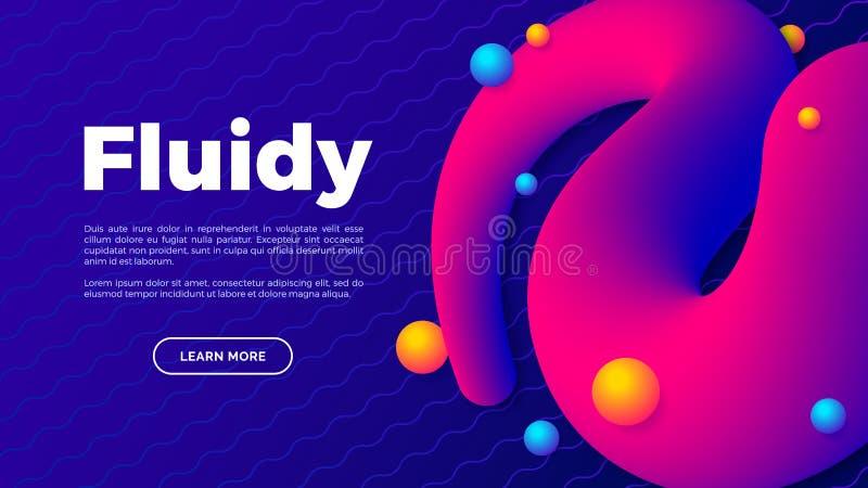 Vloeibare vorm met kleurrijke ballen, creatief landingspagina met ruimte voor uw tekst, abstract kunstontwerp stock illustratie