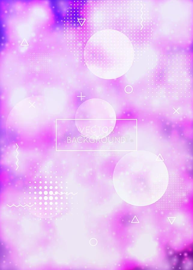 Vloeibare vormendekking met dynamische vloeistof De gradiënt van neonbauhaus met purpere lichtgevende achtergrond vector illustratie