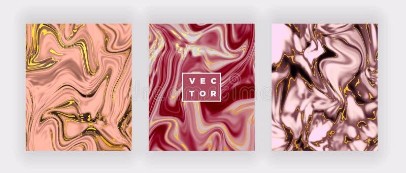 Vloeibare waterverf marmeren textuur Wervelingeninkt, de achtergrond van het rimpelingenontwerp In vloeibaar malplaatje voor vier royalty-vrije stock foto's
