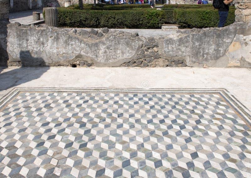 Vloer van de mozaïek de driedimensionele tegel in het Huis van Faun, Scavi-Di Pompei stock foto's