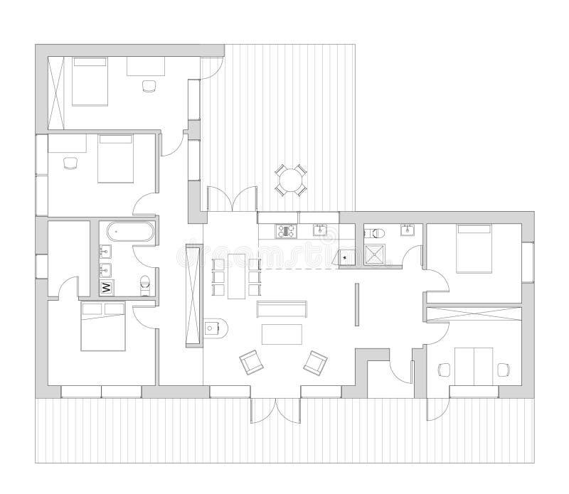 Vloerplan ot het het leven huis stock illustratie