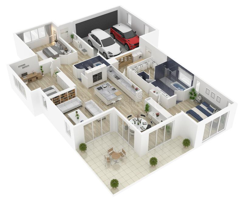 Vloerplan van een 3D illustratie van de huis hoogste mening vector illustratie