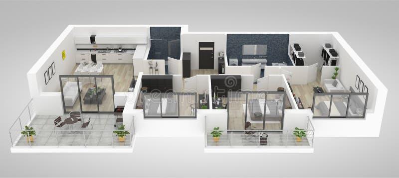 Vloerplan van een 3D illustratie van de huis hoogste mening Open concept het leven flatlay-out royalty-vrije illustratie