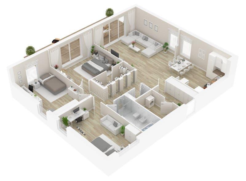Vloerplan van een huis hoogste mening Open concept het leven flatlay-out royalty-vrije illustratie