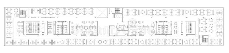 Vloerplan van het bureaugebouw stock illustratie