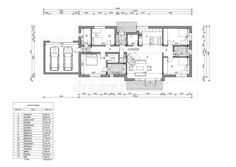 Vloerplan van het enige familiehuis vector illustratie