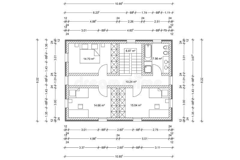 Vloerplan van huis als architecturale tekening stock - Disegno pianta casa ...