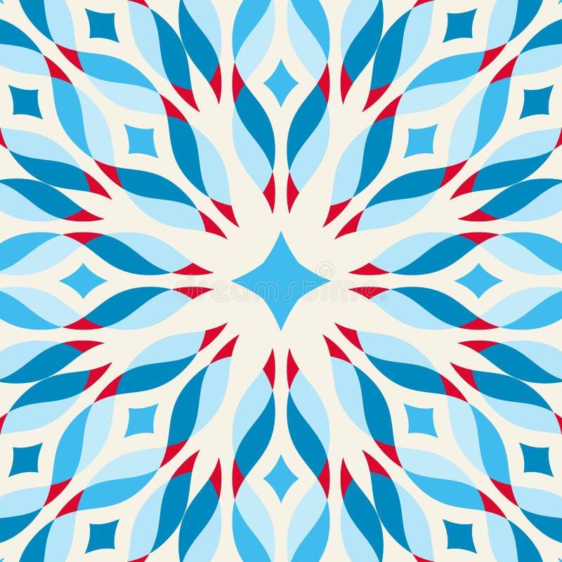 Vloertegel - fantastische bloem in blauw en rood royalty-vrije illustratie