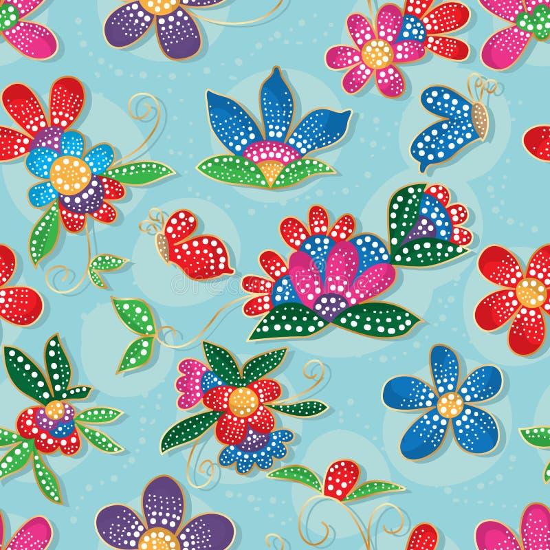 Vloervlinder Batik-stijl modern naadloos patroon vector illustratie