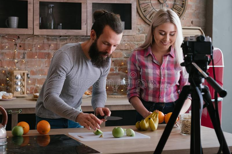 Vlog healthy nutrition food blog couple video stock photo