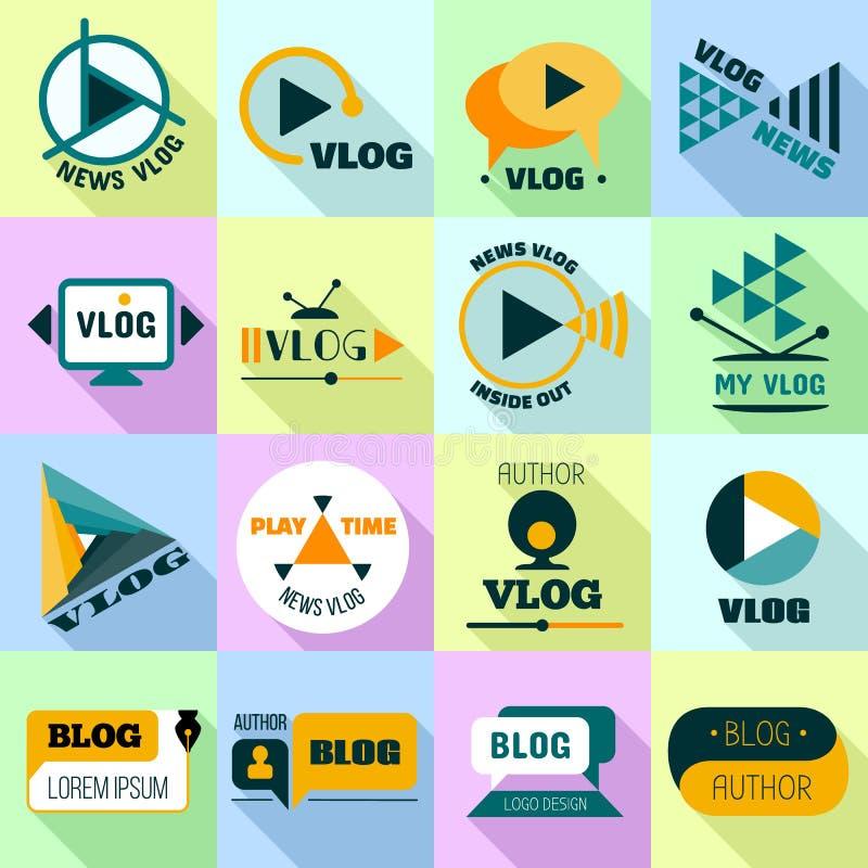 Vlog logo set, mieszkanie styl ilustracji