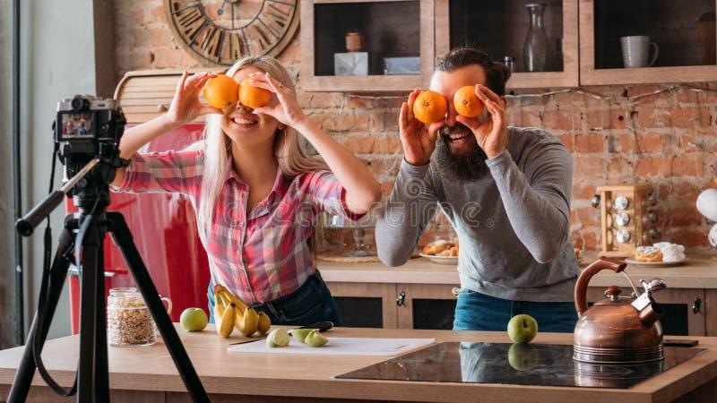 Vlog odżywiania zdrowego karmowego bloga magnetofonowy wideo obrazy stock