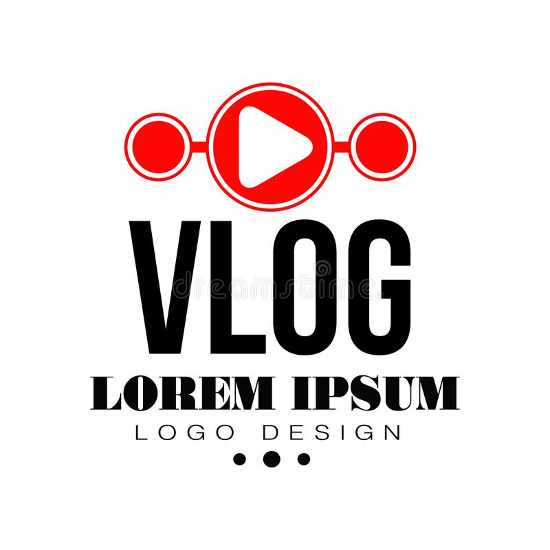 Vlog original o insignia en línea digital del blog con el botón de reproducción rojo y lugar para el texto Icono video del canal  ilustración del vector