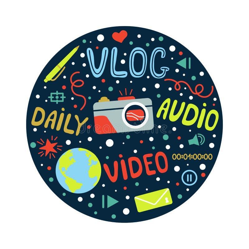 Vlog ou blogging video ou canal video ajustaram-se com elementos handdrawn Vector a ilustração feita no estilo da garatuja, color ilustração do vetor