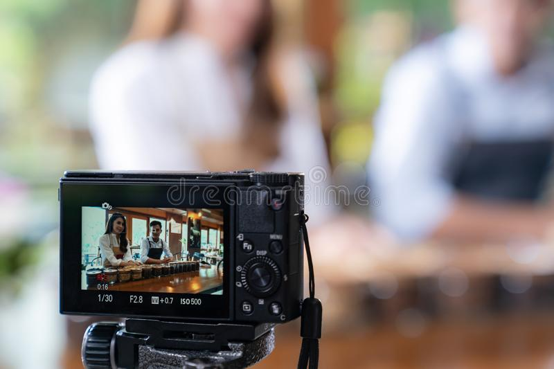 VLOG owner review cafe royalty free stock photo
