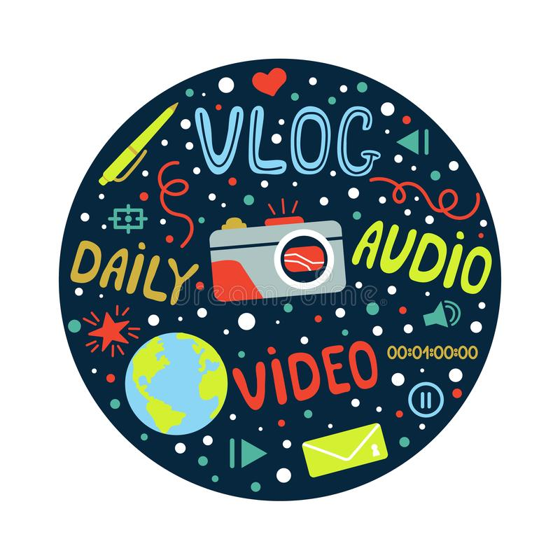 Vlog or video blogging or video channel set with handdrawn elements. Vector illustration made in doodle style, colourful vector illustration