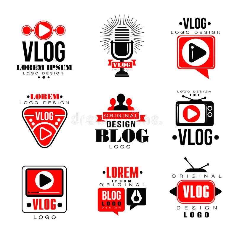 Vlog y el sistema original del diseño del logotipo del blog, el blogging video o el canal video badges ejemplos del vector ilustración del vector