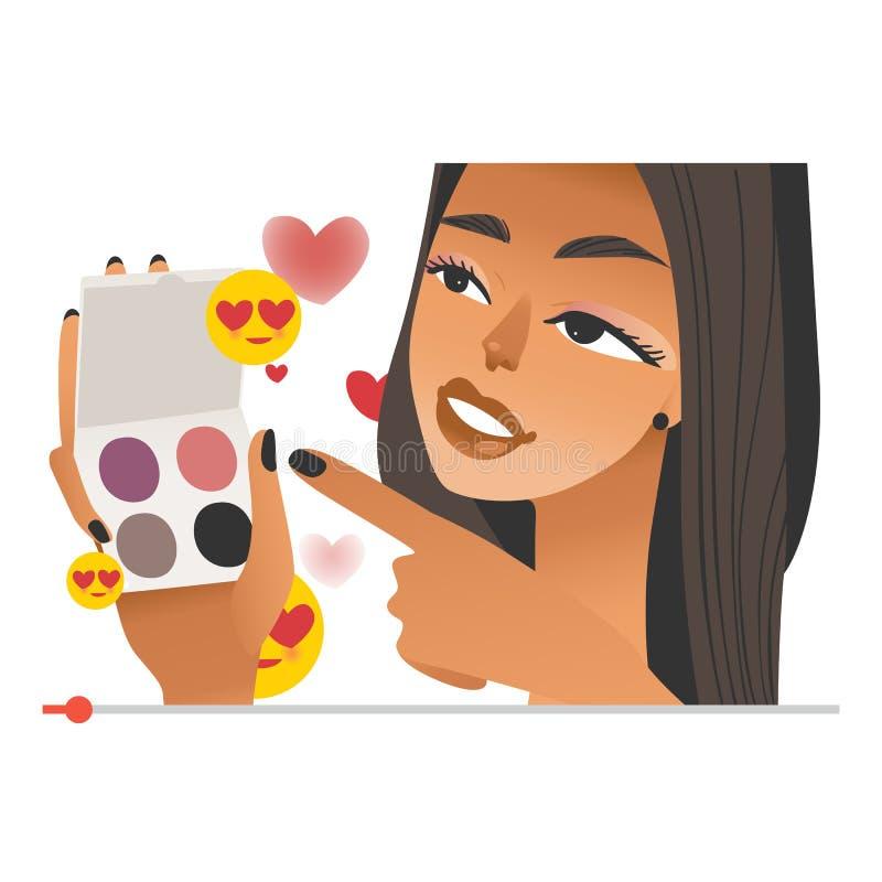 Vlogger fêmea da beleza com sombras para os olhos nas mãos na tela video do Internet ilustração stock