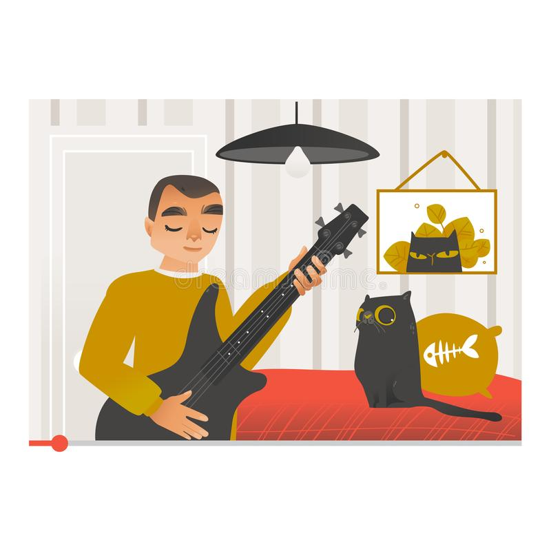 Vlogger som spelar gitarren och sjunger sång på den videopd skärmen royaltyfri illustrationer