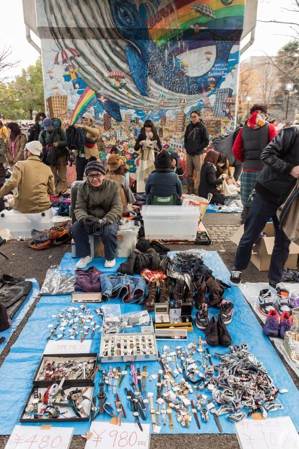 Vlooienmarkt bij Yoyogi-Park in Harajuku, Japan stock afbeelding