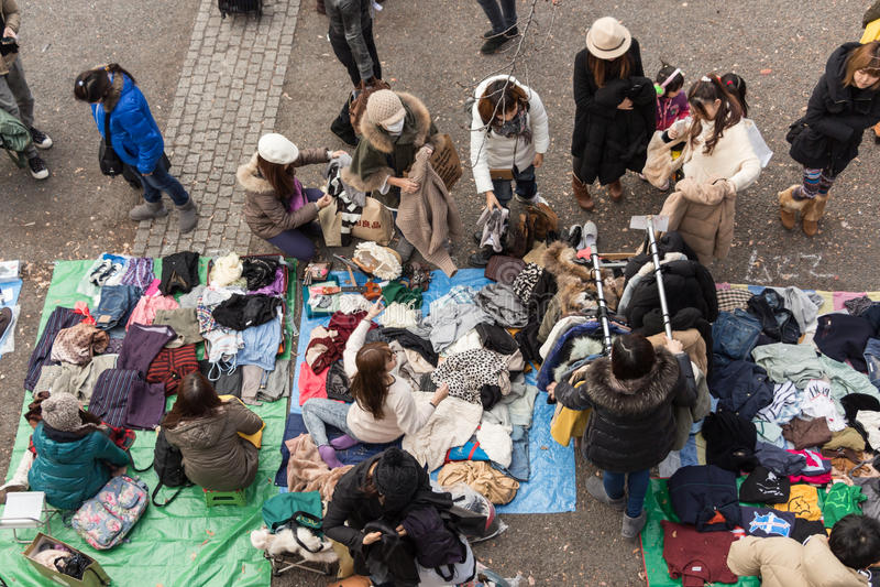 Vlooienmarkt bij Yoyogi-Park in Harajuku, Japan royalty-vrije stock afbeelding