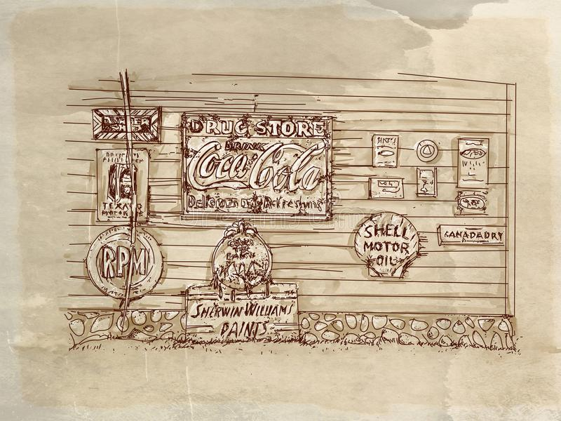 Vlooienmarkt met tekens, uitstekende reeks met antieke basis vector illustratie