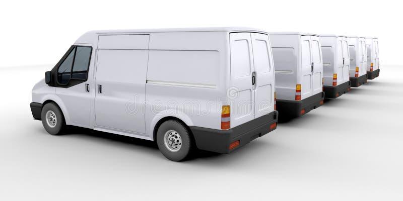 Vloot van leveringsbestelwagens stock illustratie