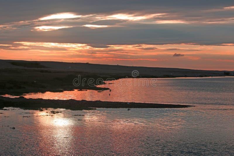 Vlootbassin bij zonsondergang royalty-vrije stock afbeelding