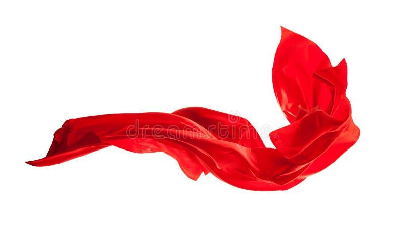 Vlot elegant rood die satijn op witte achtergrond wordt geïsoleerd stock foto
