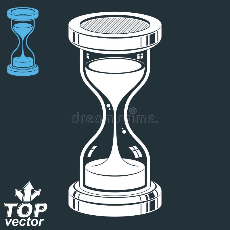 Vlot gedetailleerd vector zand-glas Ouderwets klassiek 3d uur royalty-vrije illustratie