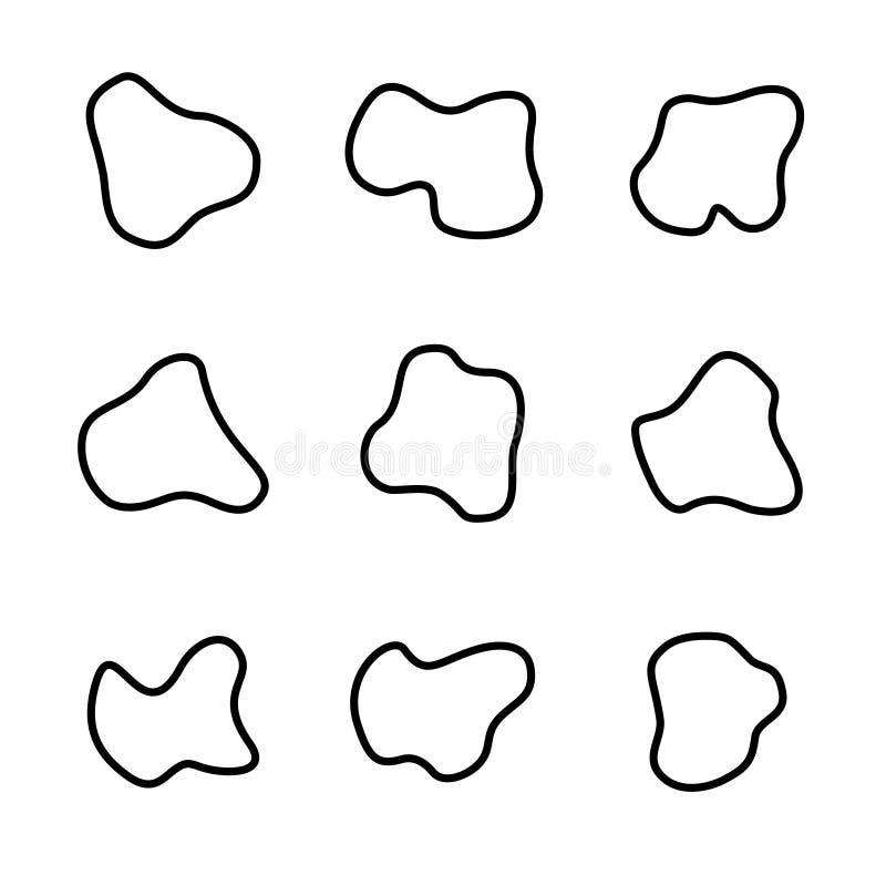 Vlotte curvy geplaatste vormen Vloeibare vlekken abstracte ontwerpsjablonen stock illustratie