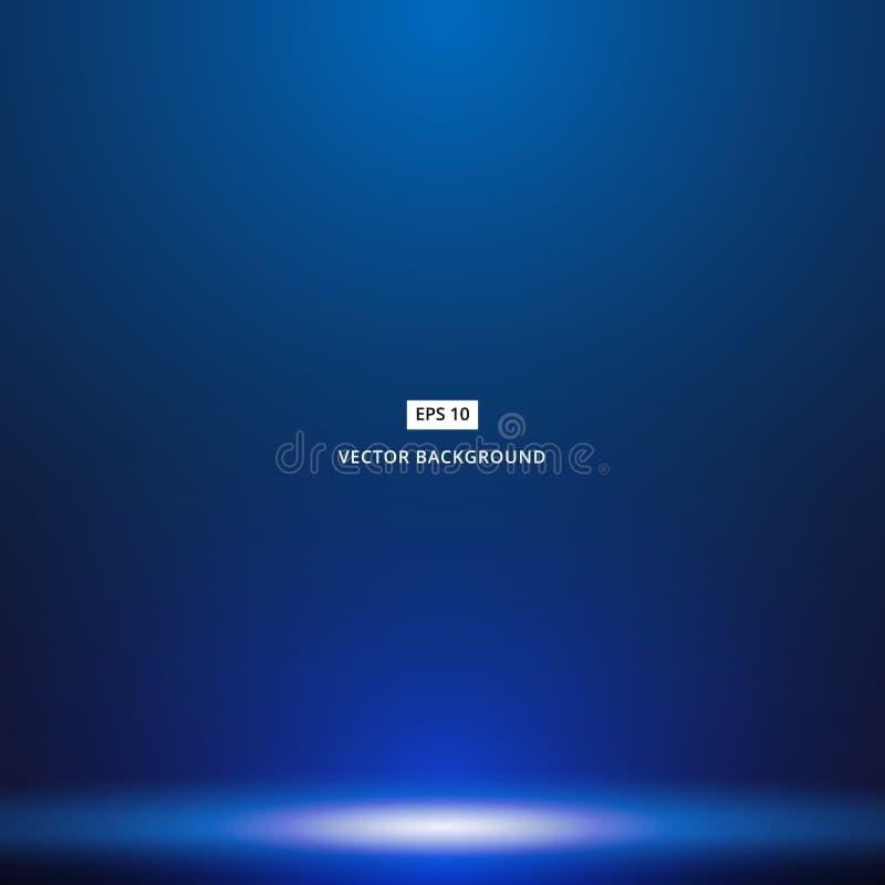 Vlotte Donkerblauw met Zwarte de ruimteachtergrond van de vignetstudio stock illustratie