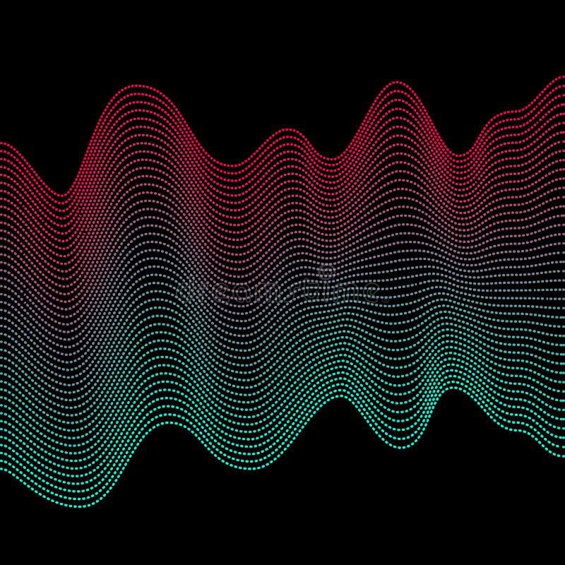 Vlotte kleurrijke golven Abstracte vector gestippelde lijnen Mengseleffect Roze en blauwe golf royalty-vrije illustratie