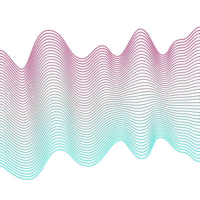 Vlotte kleurrijke golven op witte achtergrond Abstracte vector gestippelde lijnen Mengseleffect Roze en blauwe golf stock illustratie