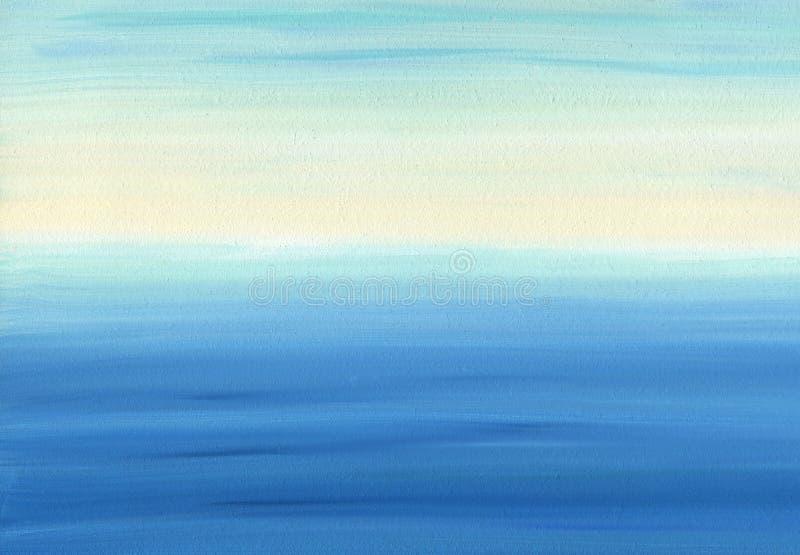 Vlotte olieverfschilderijtextuur en kleur van kalme overzees en hemel royalty-vrije stock fotografie