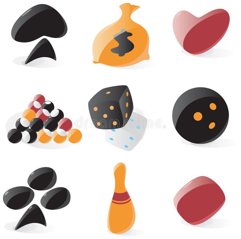 Vlotte spel en het gokken pictogrammen vector illustratie
