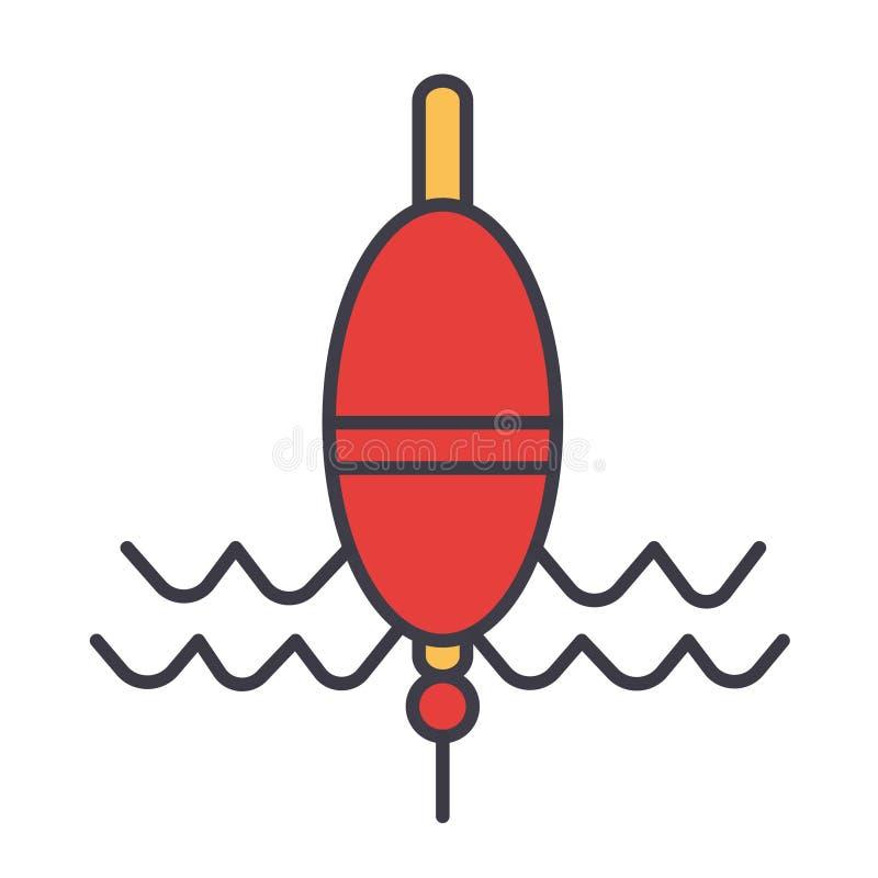 Vlotter die vlakke lijnillustratie, conceptenvector geïsoleerd pictogram vissen stock illustratie