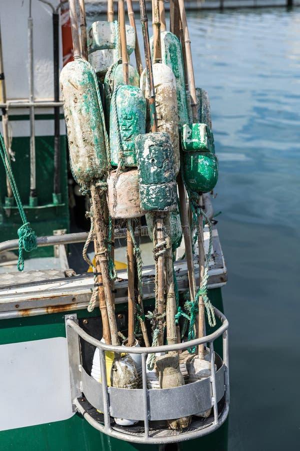Vlotters voor visnet stock afbeelding