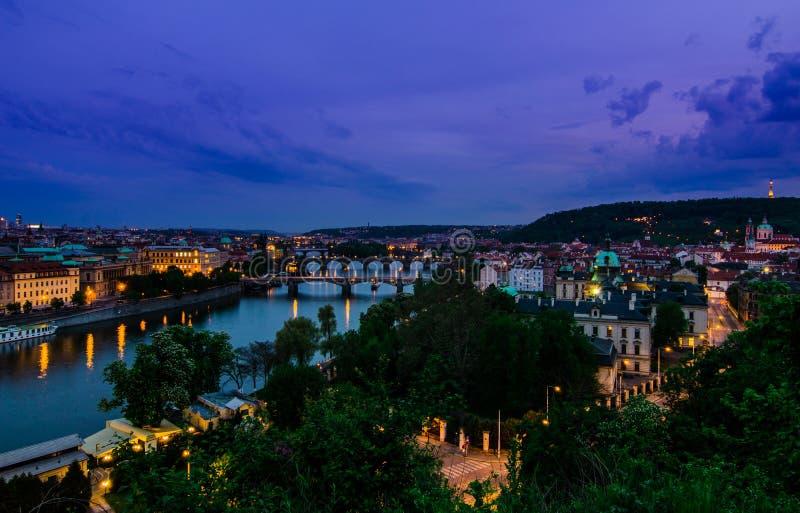 Vltava river and bridges in Prague aftet sunset stock images