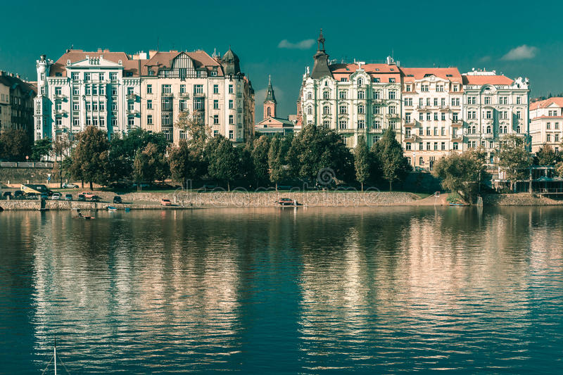 Vltava River and Old Town in Prague, Czechia stock image