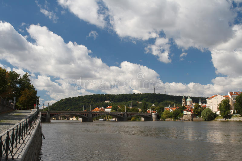 Vltava River in Prague. View from the embankment to the bridge a. Nd Prague Castle. Czech Republic royalty free stock photography