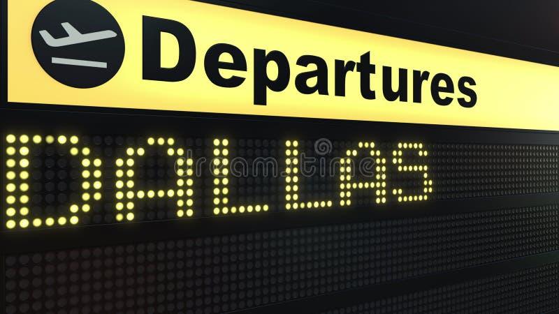 Vlucht aan Dallas op de internationale raad van het luchthavenvertrek Het reizen naar het conceptuele 3D teruggeven van Verenigde stock illustratie