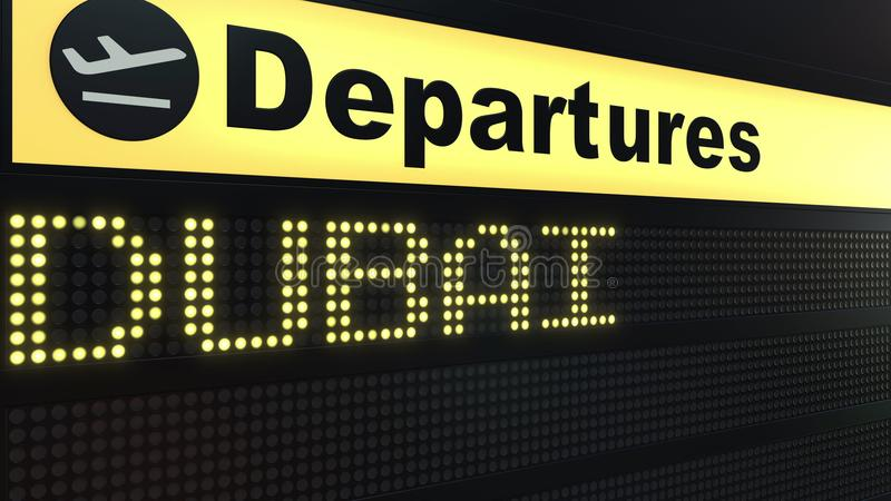 Vlucht aan Doubai op de internationale raad van het luchthavenvertrek Het reizen naar Verenigde Arabische conceptuele 3D van Emir royalty-vrije illustratie